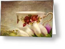Bone China Teacup And Foxgloves Greeting Card