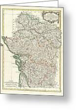 Bonne Map Of Poitou Touraine And Anjou France Greeting Card
