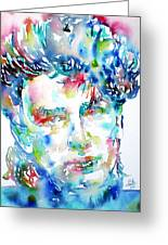 Bono Watercolor Portrait.1 Greeting Card by Fabrizio Cassetta