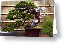 Bonsai Tree And Bamboo Fence Greeting Card by Elaine Plesser