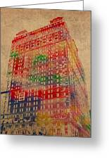 Book Cadillac Iconic Buildings Of Detroit Watercolor On Worn Canvas Series Number 3 Greeting Card by Design Turnpike