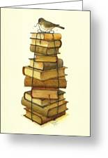 Books And Little Bird Greeting Card