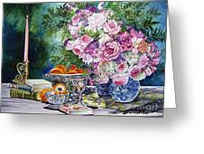 Books Bouquets Shadows And Light Greeting Card
