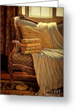 Books On Victorian Sofa Greeting Card