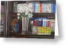Bookworm Bookshelf Still Life Greeting Card