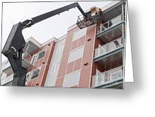 Boom Lift Worker Work Apartment Highrise Exterior Greeting Card