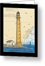 Boon Island Lighthouse Me Chart Art Cathy Peek Greeting Card