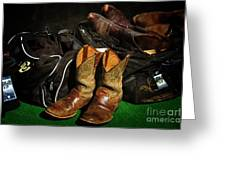 Boots And Bags Greeting Card by Bob Hislop