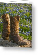 Boots And Bluebonnets Greeting Card