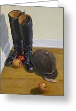 Boots Apples And Hard Hat Greeting Card
