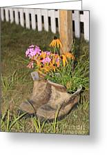Boots In Bloom Greeting Card