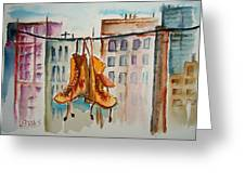 Boots On A Wire Greeting Card