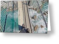 Boots On Swing Bridge Over Troubled White Water Greeting Card