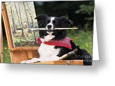 Border Collie At Painting Easel Greeting Card