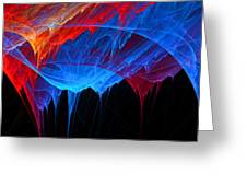 Borealis - Blue And Red Abstract Greeting Card