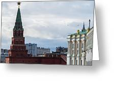 Borovitskaya Tower Of Moscow Kremlin - Square Greeting Card