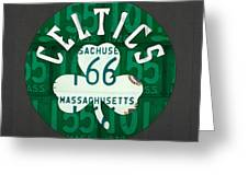 Boston Celtics Basketball Team Retro Logo Vintage Recycled Massachusetts License Plate Art Greeting Card