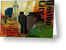 Boston City Collage 2 Greeting Card by Corporate Art Task Force