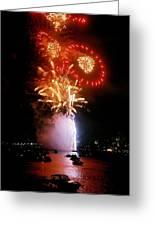 Boston Fireworks  Rings And Pinwheels Greeting Card
