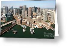 Boston Harbor And Boston Skyline Greeting Card