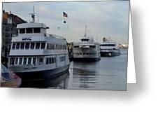 Boston Harbor Cruise Three In A Row Greeting Card