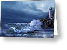 Boston Harbor Lighthouse Moonlight Scene Greeting Card