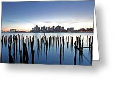 Boston Harbor Skyline With Ica Greeting Card by Juergen Roth