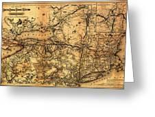 Boston Hoosac Tunnel And Western Railway Map 1881 Greeting Card