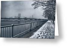Boston Longfellow Bridge-snow Cityscape Greeting Card