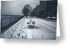 Boston Longfellow Bridge-snow Cityscape V2 Greeting Card
