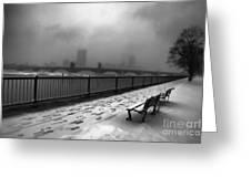 Boston Longfellow Bridge-snow Cityscape V3 Greeting Card
