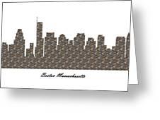 Boston Massachusetts 3d Stone Wall Skyline Greeting Card