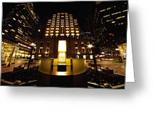 Boston - Night At Post Office Square Greeting Card
