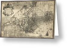Boston Of British Dominion Map  1769 Greeting Card
