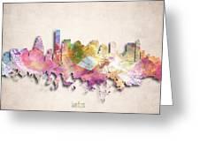 Boston Painted City Skyline Greeting Card