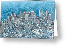 Boston Panorama Abstract 2 Greeting Card