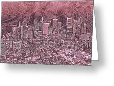 Boston Panorama Abstract Greeting Card
