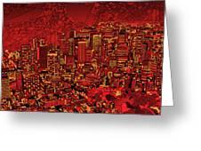 Boston Panorama Red Greeting Card