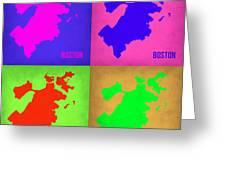 Boston Pop Art Map 1 Greeting Card