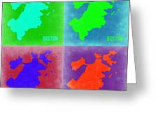 Boston Pop Art Map 2 Greeting Card by Naxart Studio