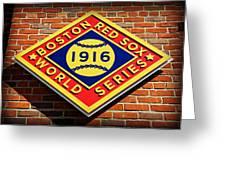 Boston Red Sox 1916 World Champions Greeting Card