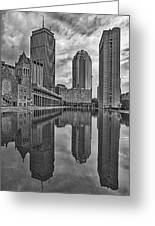 Boston Reflections Bw Greeting Card
