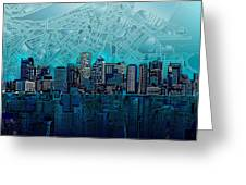 Boston Skyline Abstract Blue Painting By Bekim M