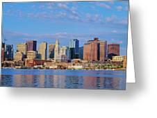 Boston Skyline And Harbor, Massachusetts Greeting Card