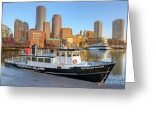 Boston Skyline And Thompson Island Ferry I Greeting Card