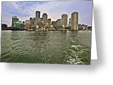 Boston Skyline At Sunset Greeting Card