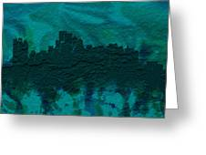 Boston Skyline Brick Wall Mural Greeting Card