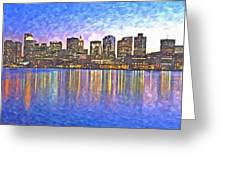 Boston Skyline By Night Greeting Card