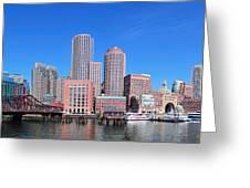 Boston Skyline Over Water Greeting Card