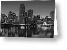 Boston Skyline Seaport District Bw Greeting Card